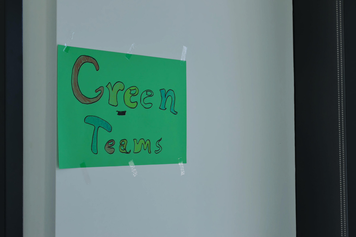 "Schild ""Green teams"""