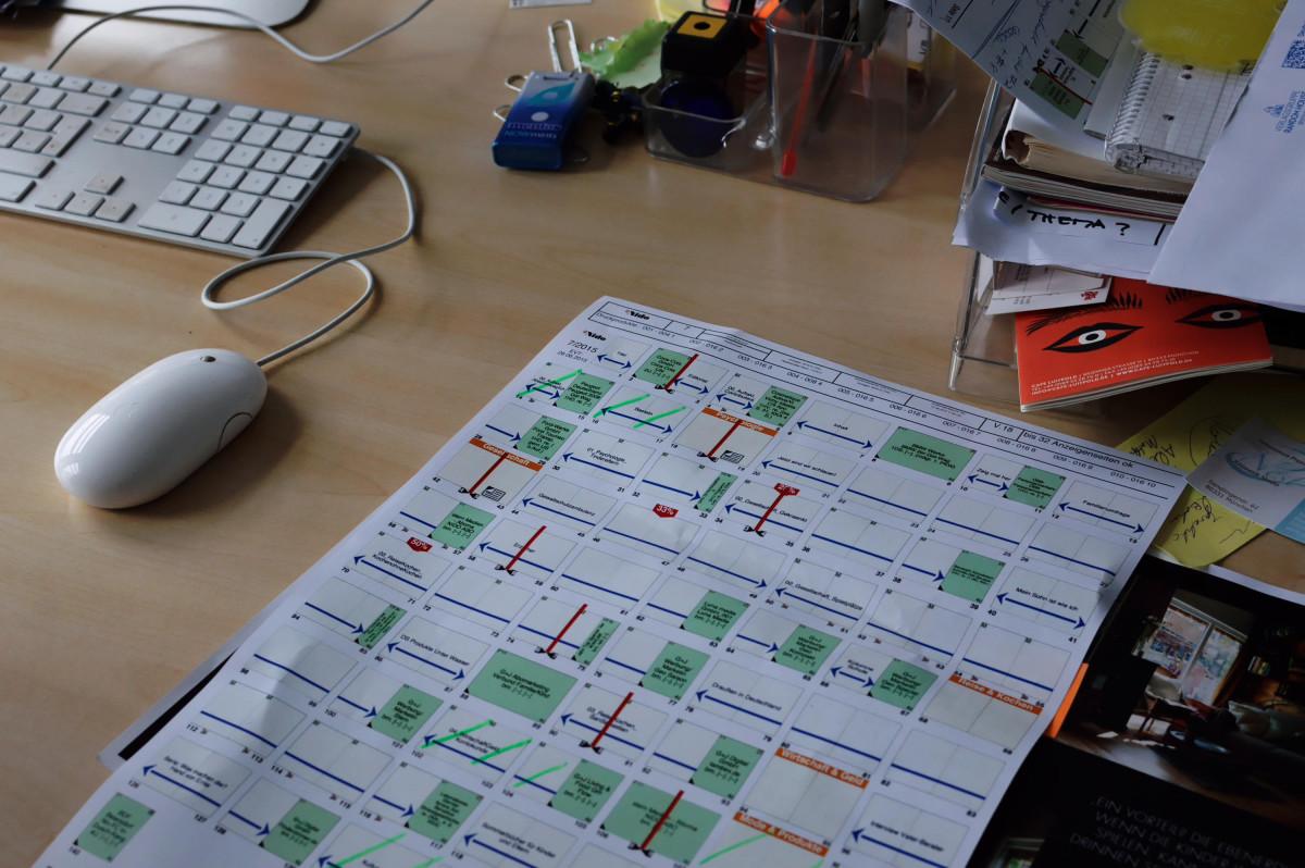 Heftplan auf Papier